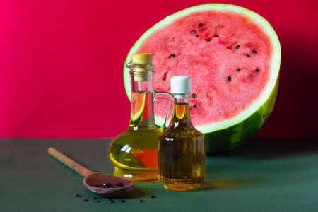Watermelon seed oil in a glass jar