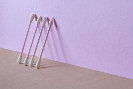 Reusable Cosmetic Silicone Cotton Swabs. Copy space