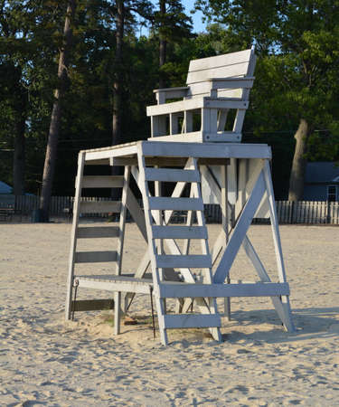 An elevated stand for lifeguards to watch the swimmers