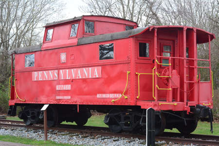 caboose: Richland, New Jersey March 21, 2016 A Red Train Caboose to give train employees a better view of the train.
