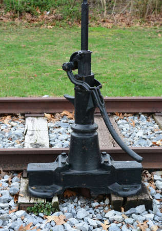 hand rails: Richland, New Jersey March 21, 2016 A Hand sign switch control for railroads, this is turned by hand to warn trains.