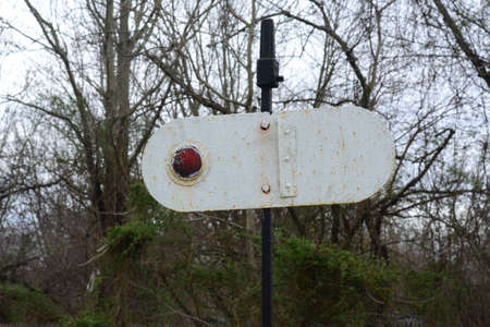 reflector: Richland, New Jersey March 21, 2016 A rotating Reflector sign to signal trains, giving them instructions of what to do.