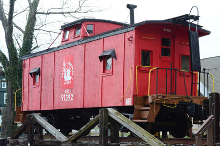 caboose: Richland, New Jersey. March 21, 2016 A retired Wooden Train Caboose on display at a local park. Editorial