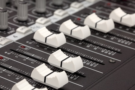 audio mixer: Closeup of audio mixing console. Shallow depth of field