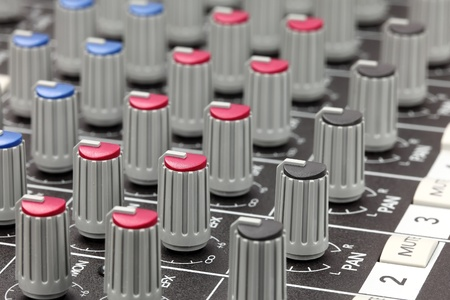 Closeup of audio mixing console. Shallow depth of field. Stock Photo - 8860517