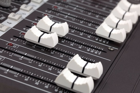 Closeup of audio mixing console. Shallow depth of field. Stock Photo - 8860521