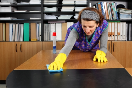 Professional cleaning lady clean office. Stock Photo - 8965306