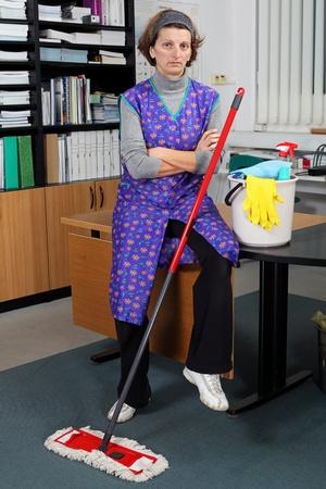 casalinga: Ritratto di donna delle pulizie professionale.  Archivio Fotografico