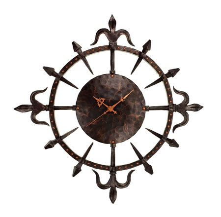 wrought iron wall clock isolated on white background  Standard-Bild