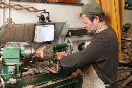 Joiner work in his workshop. photo