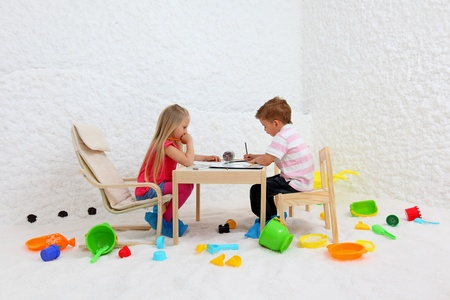 Childs play in salt room. Halotherapy for treatment of respiratory diseases.