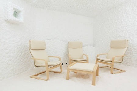 Salt room. Halotherapy for treatment of respiratory diseases.