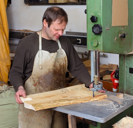 Joiner work in his workshop. Stock Photo