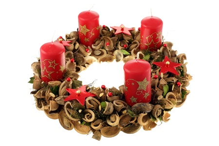 advent advent: Christmas wreath isolated on white background.