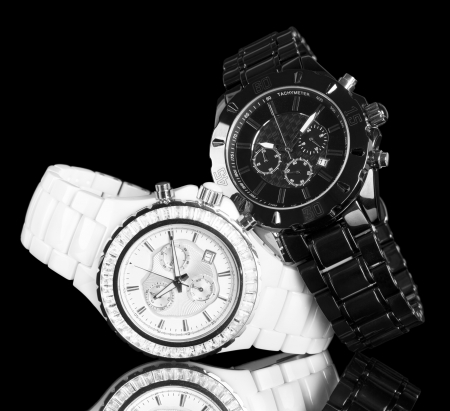 wrist watches isolated on black background photo