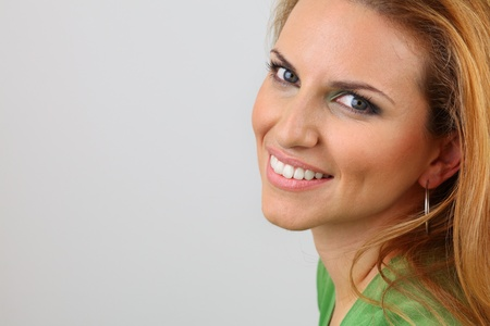 Attractive lady with healthy smile and beautiful make up  Standard-Bild