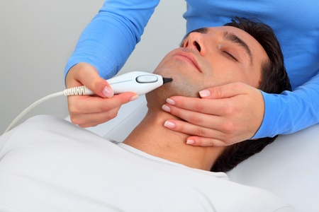 Ultrasonic hair removal in professional studio photo