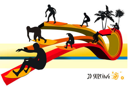 surfer vector composition Vector