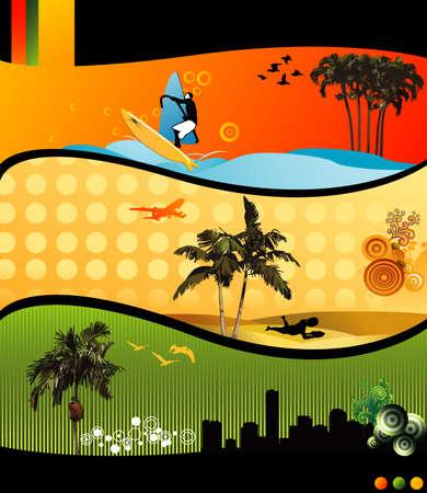 actual: beach vector composition  Illustration