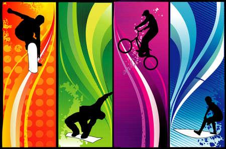 composición de vectores de deportes extremos