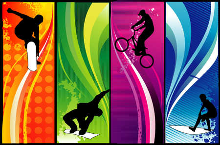 extreme sports vector composition Illustration