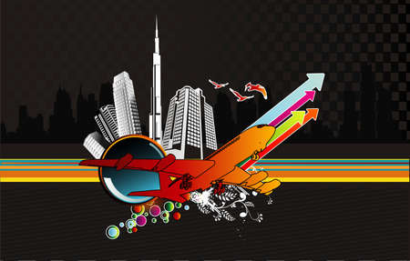 city abstract vector composition