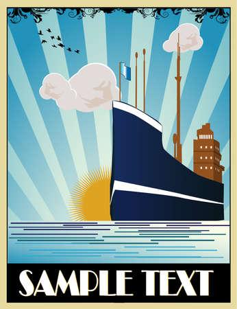 sail boats: Art deco ship vector