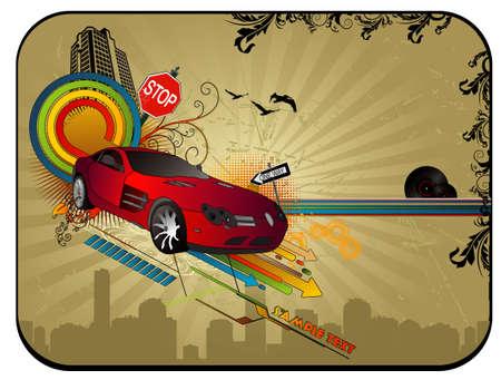 abstract car vector composition Vector