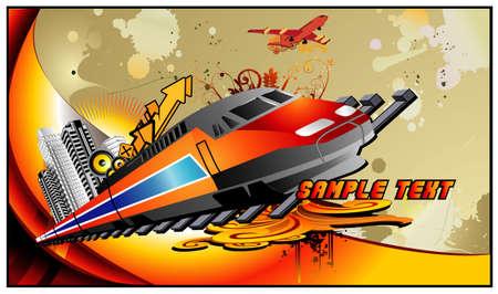 Train vector composition Illustration