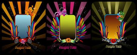 vintages: color banner vector compositions