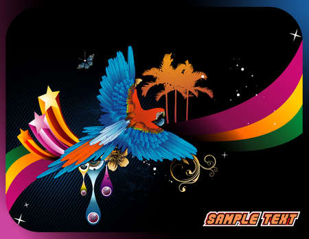 birds of paradise: bird vector composition Illustration