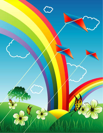 rainbow in a landscape vector Vector