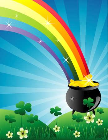 pot of gold: rainbow color vector