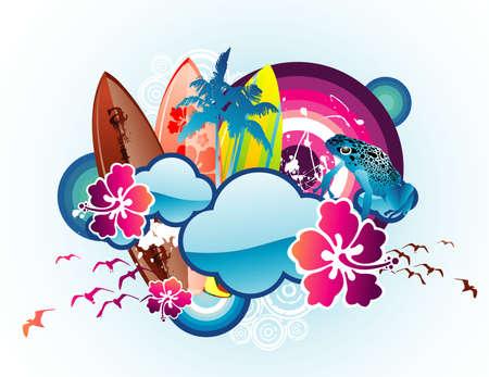 ilustración vectorial de playa