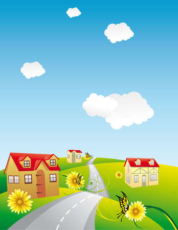 houses in a sunshine day Vector