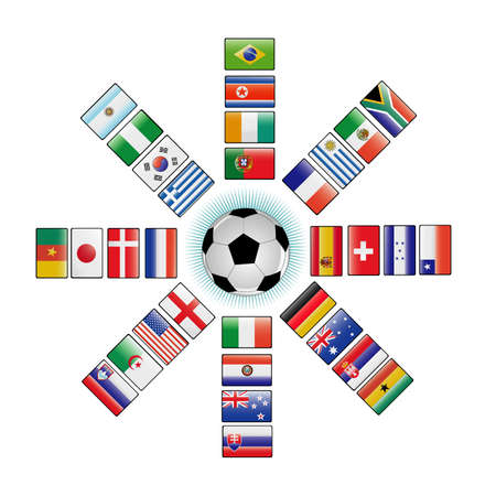 slovakia flag: flags of the world cup 2010 Illustration