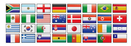 flags of the world cup 2010 Vectores