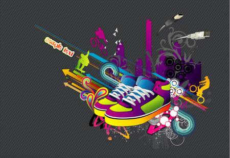 スニーカー: スニーカーの靴の都市  イラスト・ベクター素材