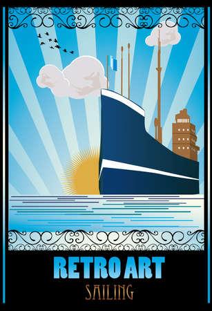 retro ship vector illustration Illustration