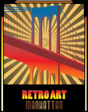 retro bridge vector illustration