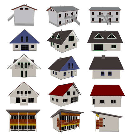 vector houses illustration Stock Vector - 6525529