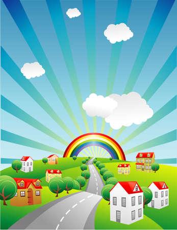 Regenboog in een prachtig landschap vector  Stockfoto - 6525534