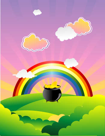 golden pot at the end of  the rainbow vector Stock Vector - 6525533