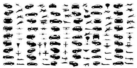 several: cars and airplanes  shapes