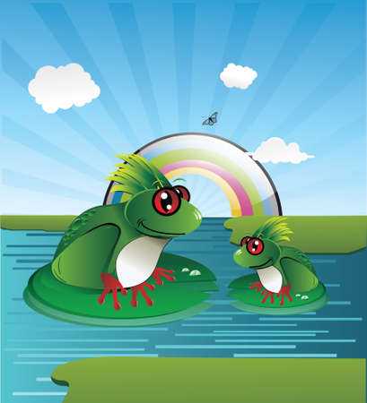 frog in a lake composition Vector
