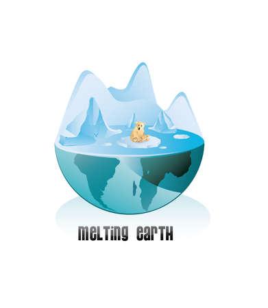 melting: melting pole for global warming  Illustration