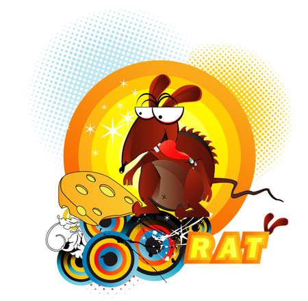 rata caricatura: Ilustraci�n de dibujos animados de rata