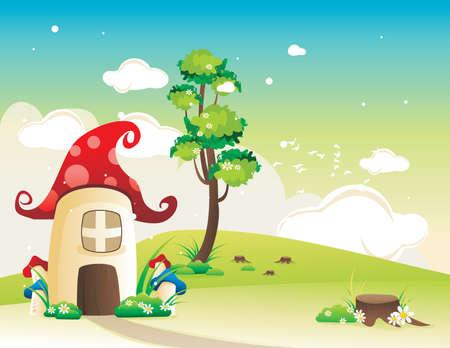 gnomi: vettore di paesaggio di fantasia Vettoriali