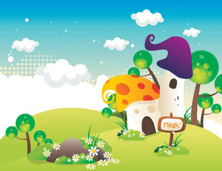 mushroom cloud: fantasy house vector