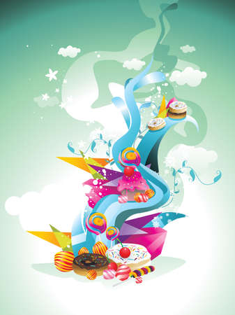 donut style: candies abstract illustration